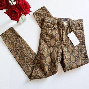 NWT Zara High-waist Snake Skin Print Jeans